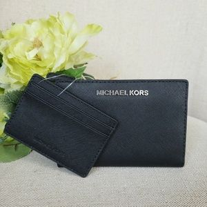 NWT Michael Kors Card Case Carryall Wallet Black